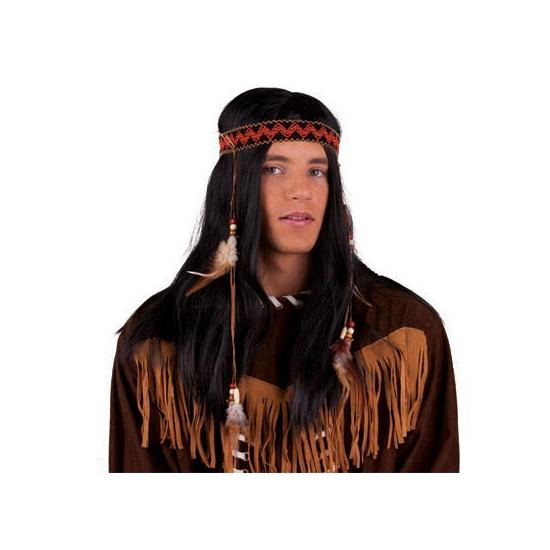 Indianen pruik met band en veertjes