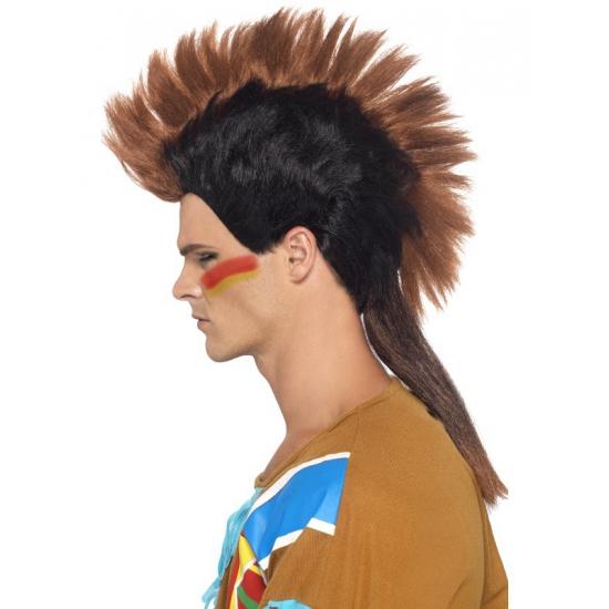 Indianen pruik met hanekam voor heren