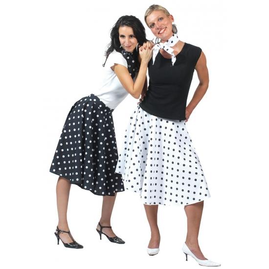 Jaren 50 rok zwart met wit