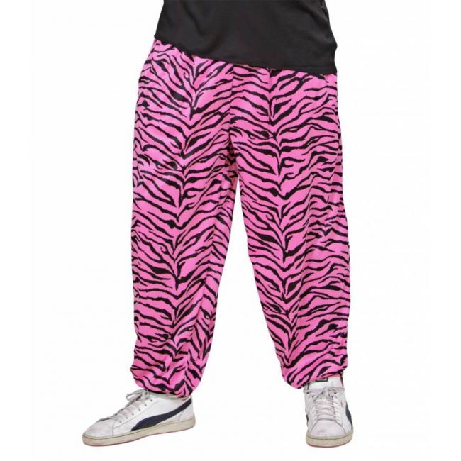 Jaren 90 roze zebra broek voor heren