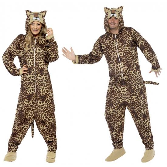 Jumpsuit luipaard all in one voor volwassenen