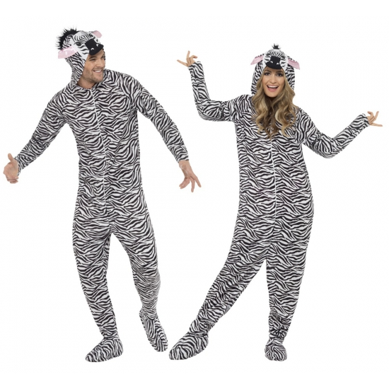 Jumpsuit zebra all in one voor volwassenen