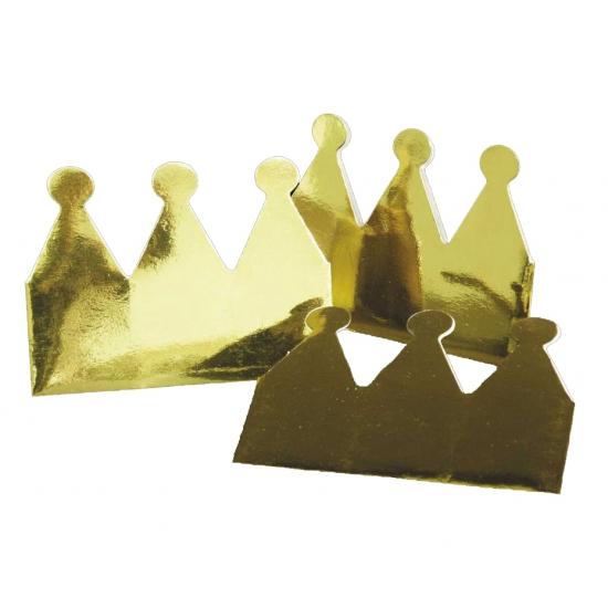 Kartonnen kroon goudkleurig 6 x