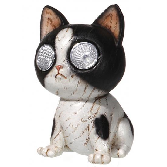 Katten beeldje met licht 13 cm
