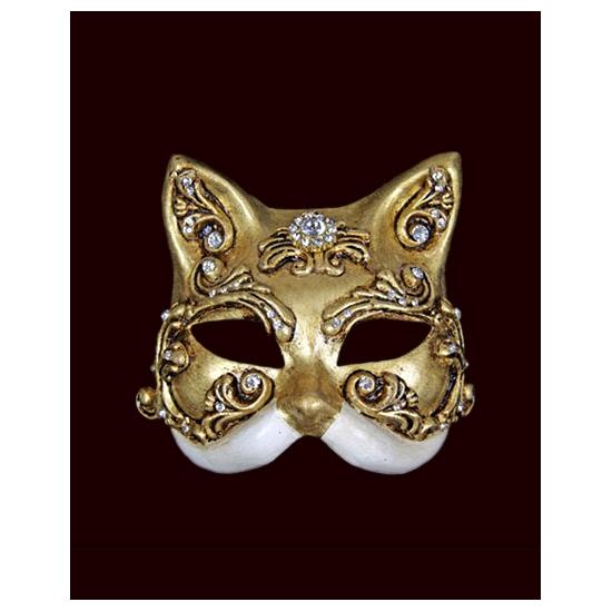 Katten masker goud wit handgemaakt