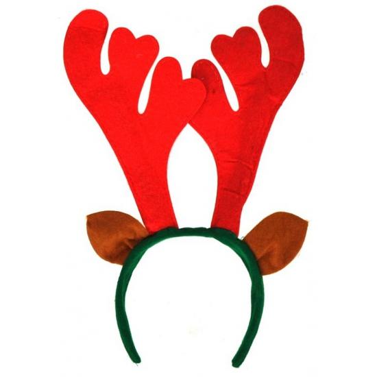 Kerst haarband rood rendier gewei