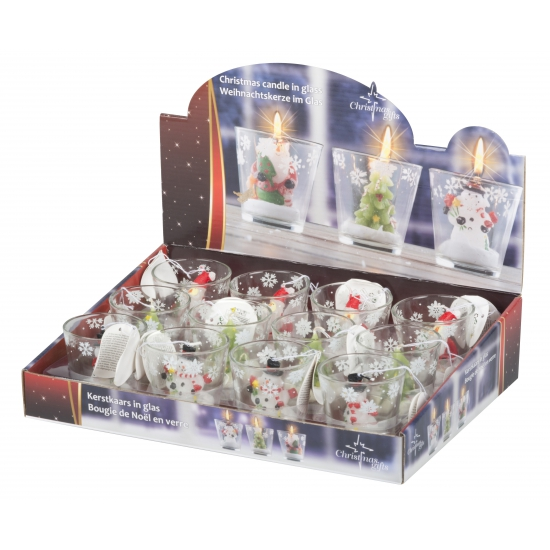 Kerstboom thema kaarsje in glas 6 5 cm
