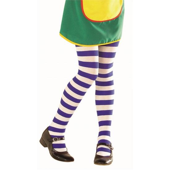 Kinder panty met blauw witte streep