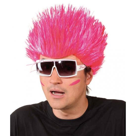 Knal roze pruik voor volwassenen