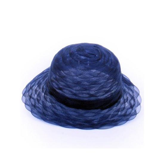 Kobalt blauwe dameshoed van organza stof