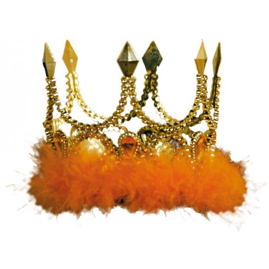 Koningskronen goud met oranje veren