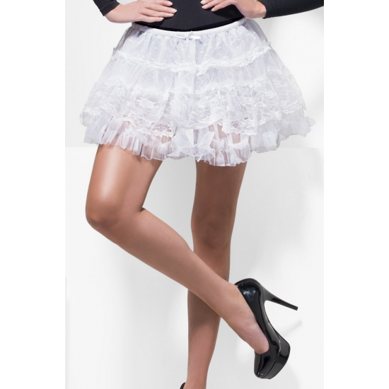 Korte witte onderrok petticoat van kant