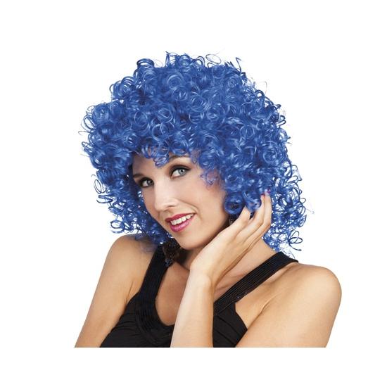 Krullen pruik blauw