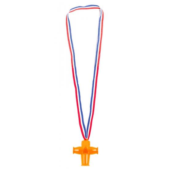 Kunststof fluitjes oranje 4 stuks