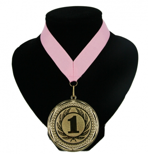 Landen lint nr. 1 medaille licht roze