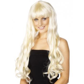 Lange blonde damespruik met pony