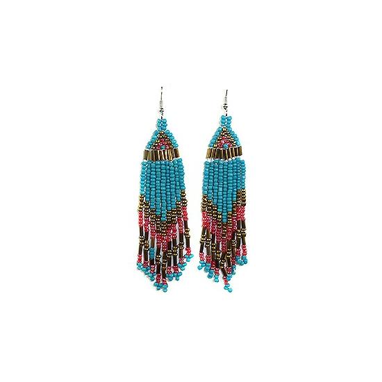 Lange Indianen oorbellen met blauwe kralen