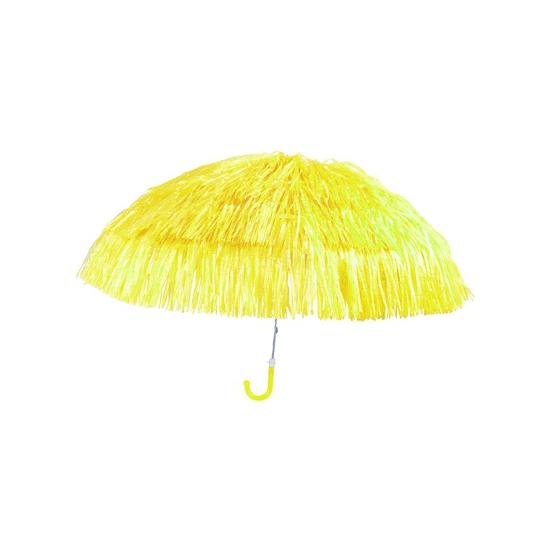 Leuke gele parasol met sliertjes