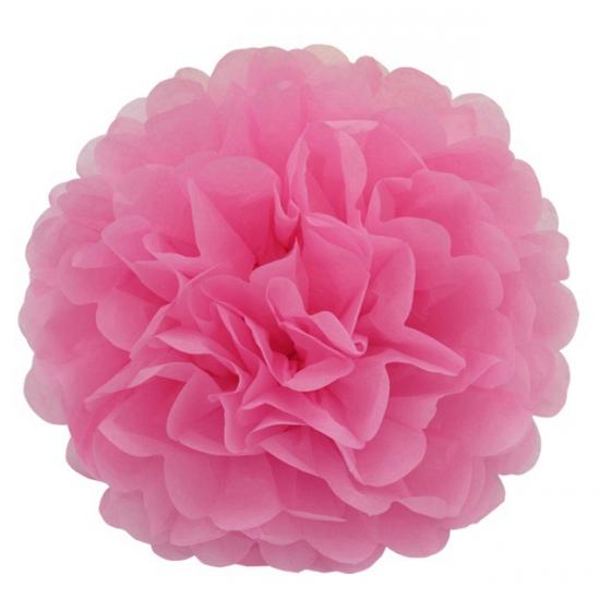 Lichtroze bloem pompom 25 cm