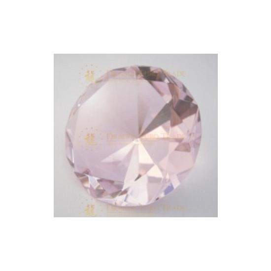 Lichtroze glazen diamant 8 cm