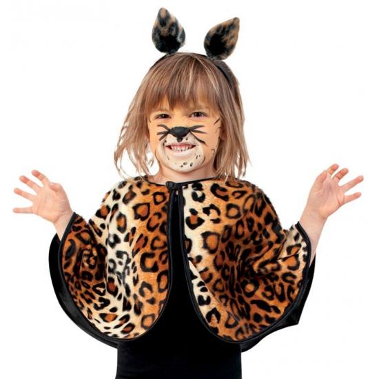 Luipaard verkleed poncho voor peuters