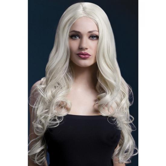 Luxe dames pruik blond met krullen