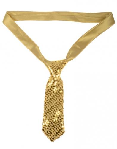 Luxe gouden stropdas met pailletten