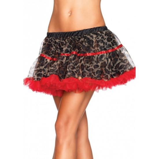 Luxe petticoat voor dames luipaard print met rood