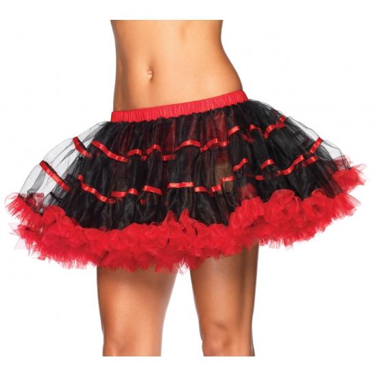 Luxe petticoat voor dames zwart met rood