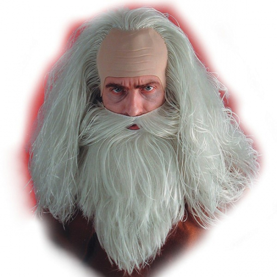 Magier pruik en baard wit