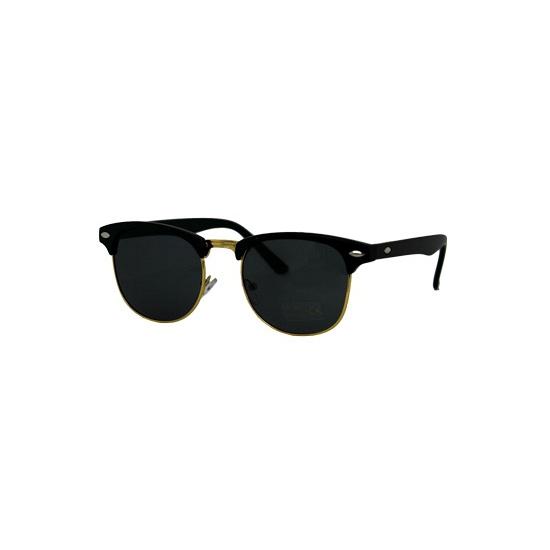 Matzwarte Clubmaster bril met goud randje