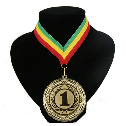 Medaille nr. 1 halslint groen geel rood