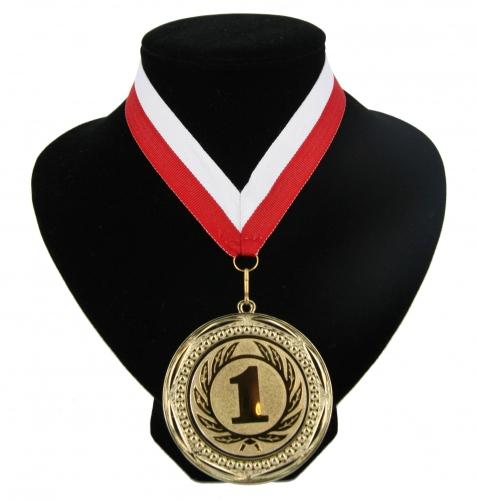 Medaille nr. 1 halslint rood en wit