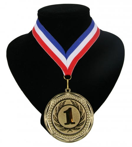 Medaille nr. 1 halslint rood wit blauw