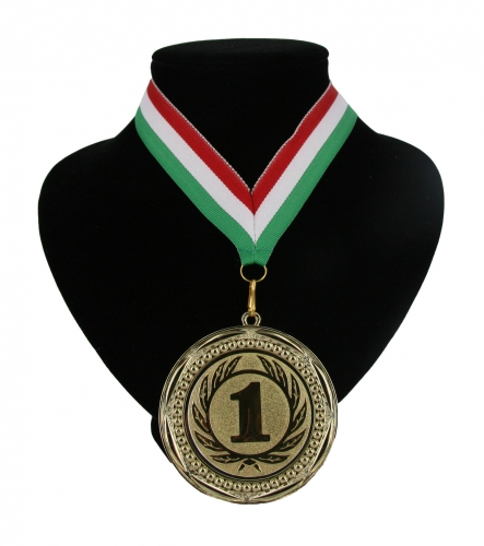 Medaille nr. 1 halslint rood wit en groen