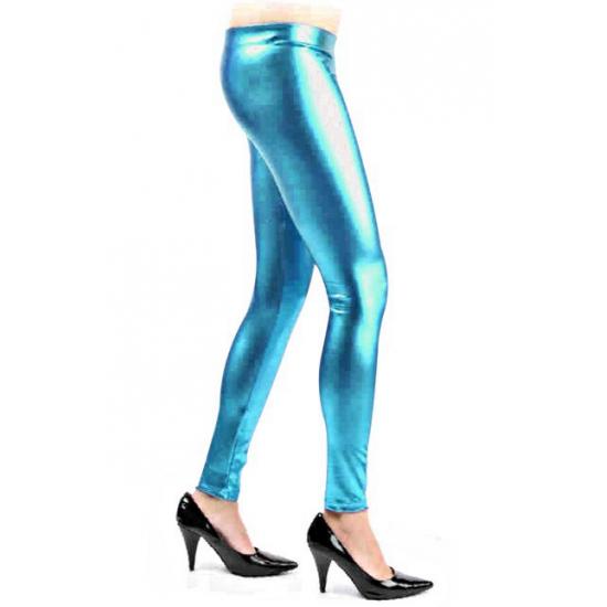 Metallic blauwe legging