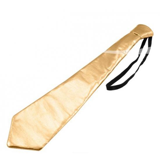Metallic gouden stropdas 36 cm