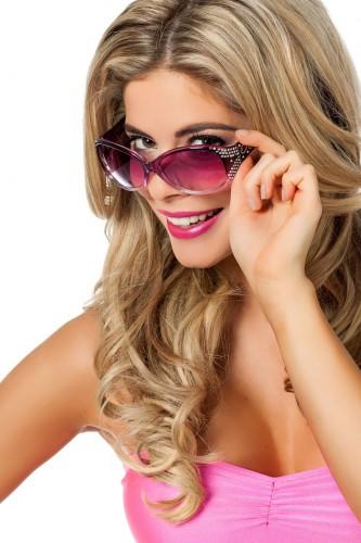 Modieuze paarse feestbrillen met glitters