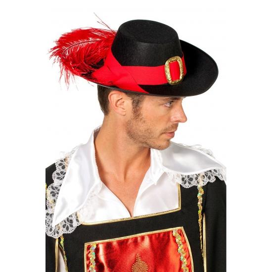 Musketier hoed met rode veer