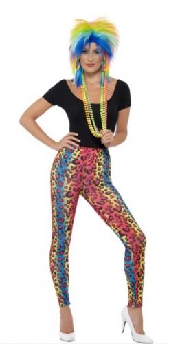 Neon legging met luipaard print