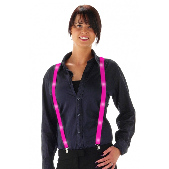 Neon roze bretels met LED verlichting