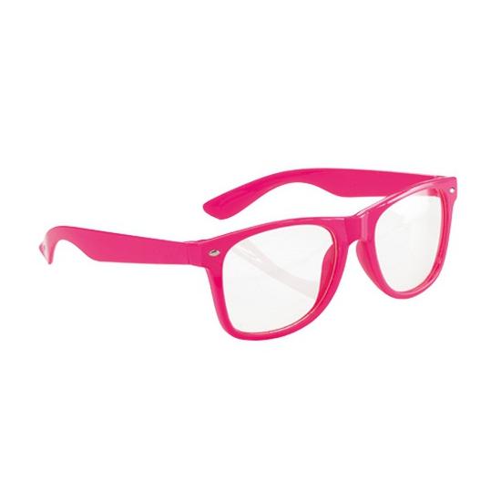 Neon roze party bril voor volwassenen