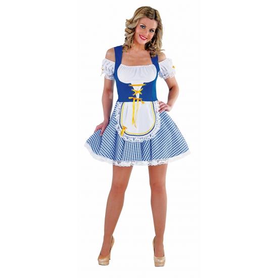 Oktoberfest jurkje blauw met wit