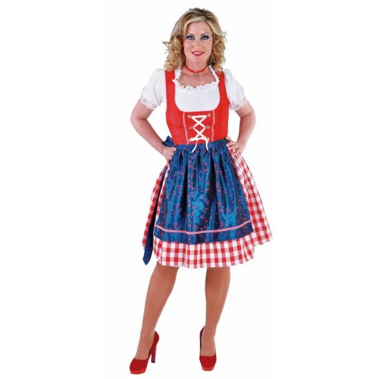 Oktoberfest luxe dirndl 3 delig rood blauw