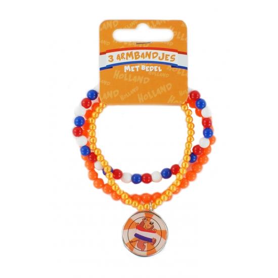 Oranje armbandjes 3 stuks met hanger