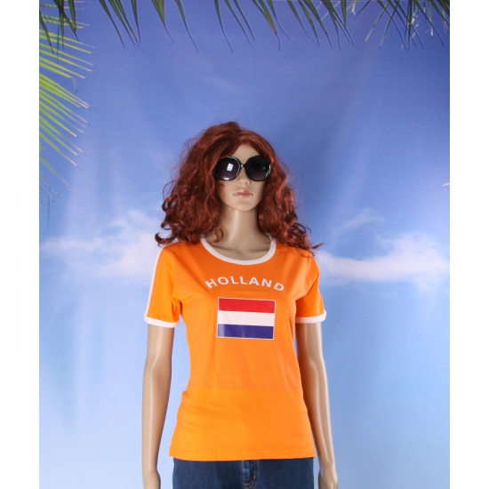 Oranje contrast shirt met Holland print