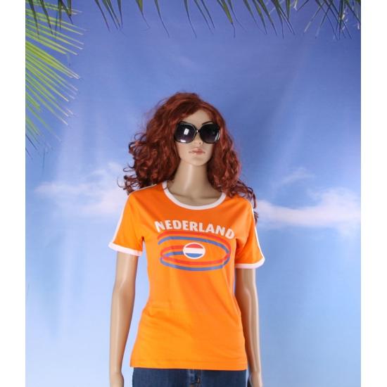 Oranje contrast shirt met Nederland print