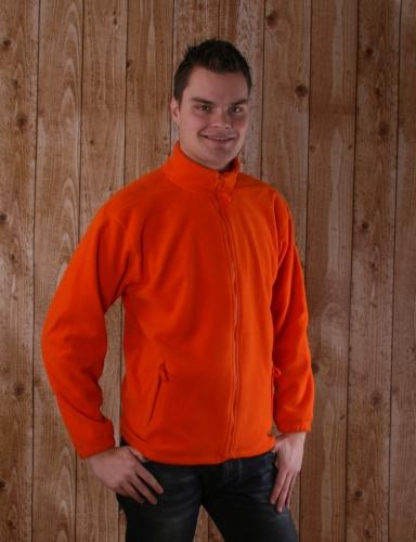 Oranje fleece vest met hele rits