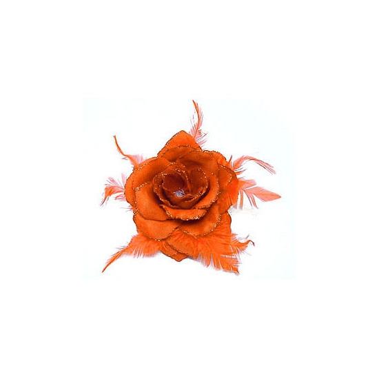 Oranje glitter roos voor in het haar