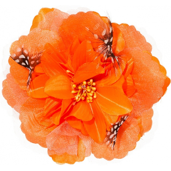Oranje Hawaii broche en clip